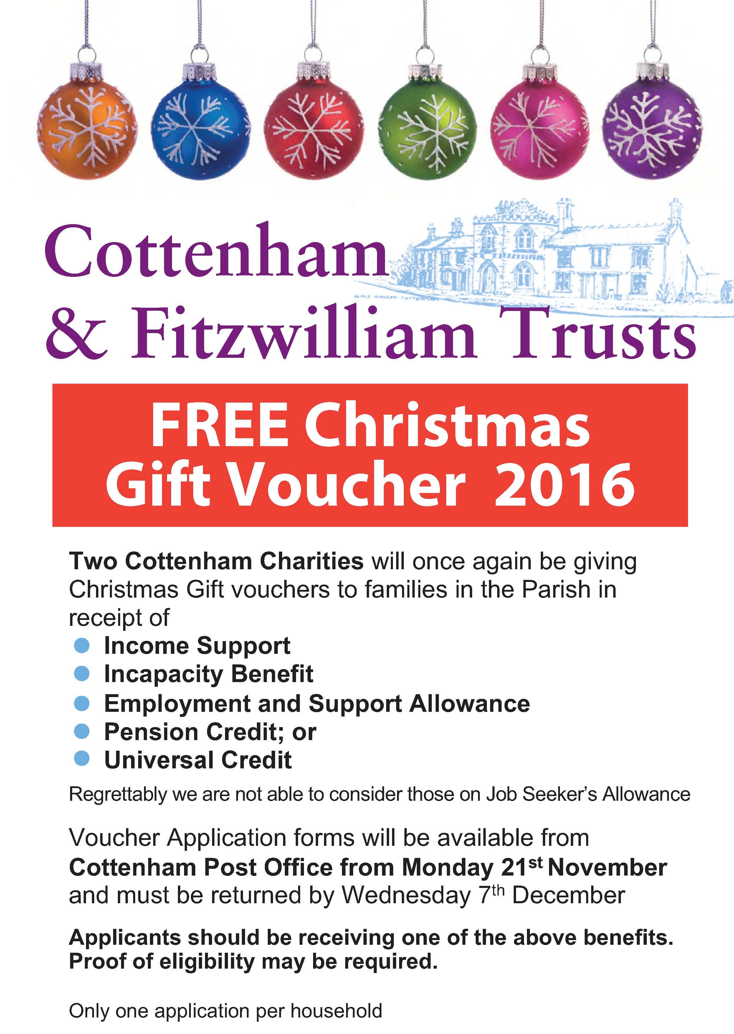 Cottenham Charities Christmas voucher application form
